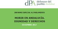 """10.30 h: Entrega al Presidente del Parlamento del informe especial """"Morir en Andalucía. Dignidad y derechos"""""""