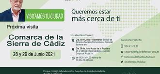 La Oficina de Información y Atención Ciudadana del Defensor del Pueblo andaluz se desplaza a la Sierra de Cádiz los días 28 y 29 de junio para la atención a la ciudadanía