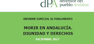 10.30 h: Entrega al Presidente del Parlamento del informe especial Morir en Andalucía. Dignidad y derechos