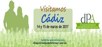 La Oficina de Atención Ciudadana del Defensor del Pueblo Andaluz estará en Cádiz los días 14 y 15 de marzo