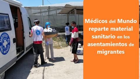 Voluntarios de médicos del mundo reparte comida a inmigrantes