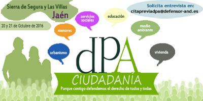 El Defensor estará en la comarca de Sierra de Segura y Las Villas (Jaén) el 20 y 21 de octubre