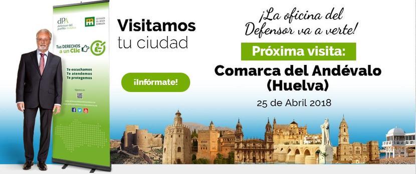 La Oficina de Atención Ciudadana del Defensor estará en la Comarca del Andévalo (Huelva) el 25 de abril